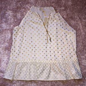 Michael Kors gold & white blouse